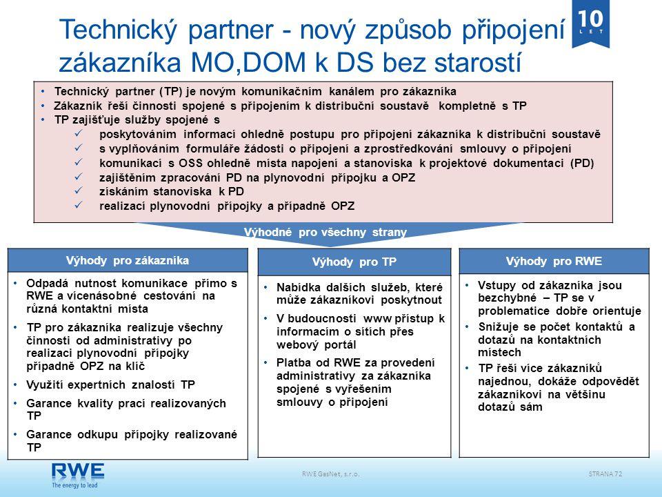 Technický partner - nový způsob připojení zákazníka MO,DOM k DS bez starostí