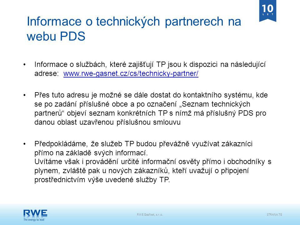 Informace o technických partnerech na webu PDS