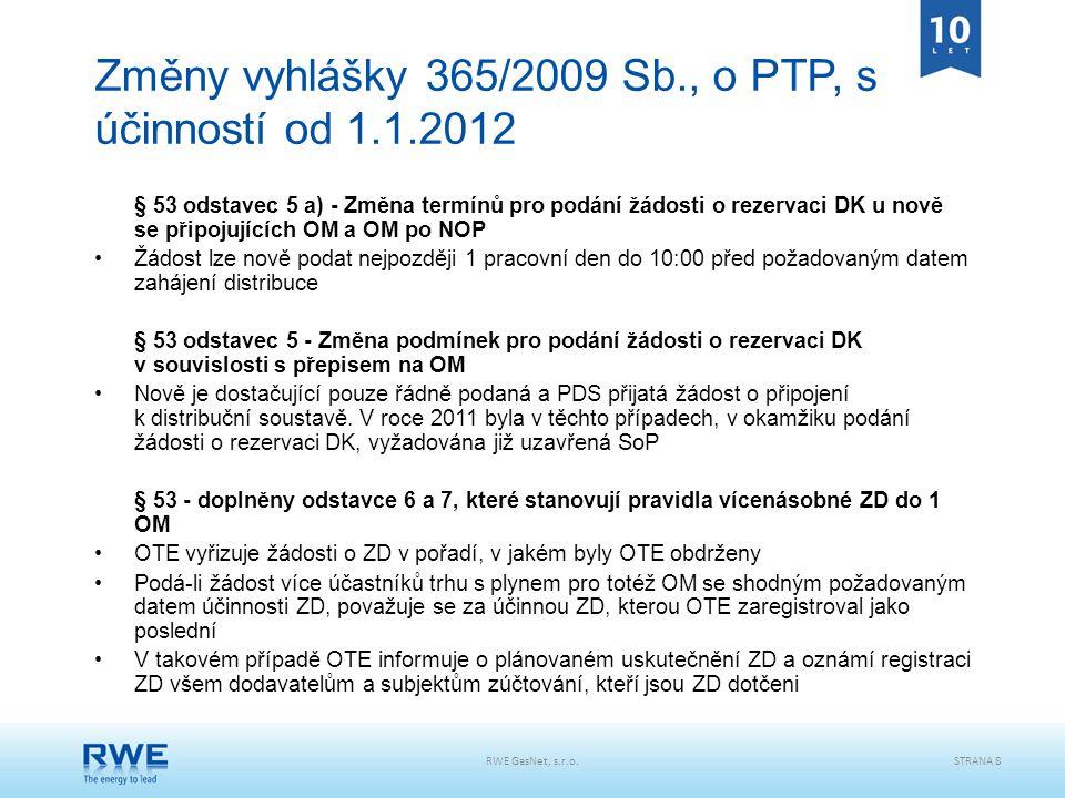 Změny vyhlášky 365/2009 Sb., o PTP, s účinností od 1.1.2012