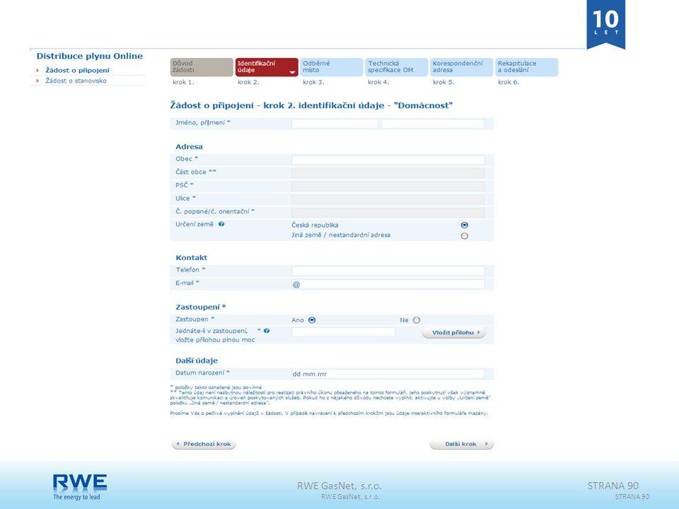 RWE GasNet, s.r.o. RWE GasNet, s.r.o. STRANA 90