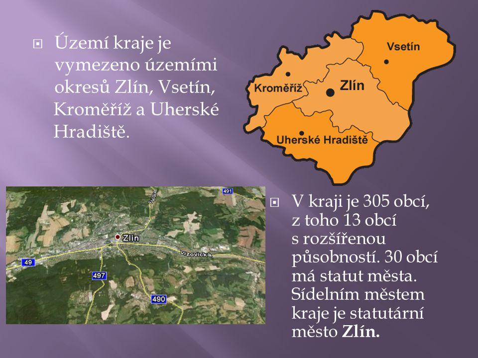 Území kraje je vymezeno územími okresů Zlín, Vsetín,