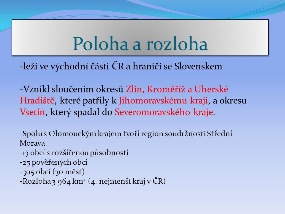 Poloha a rozloha -leží ve východní části ČR a hraničí se Slovenskem
