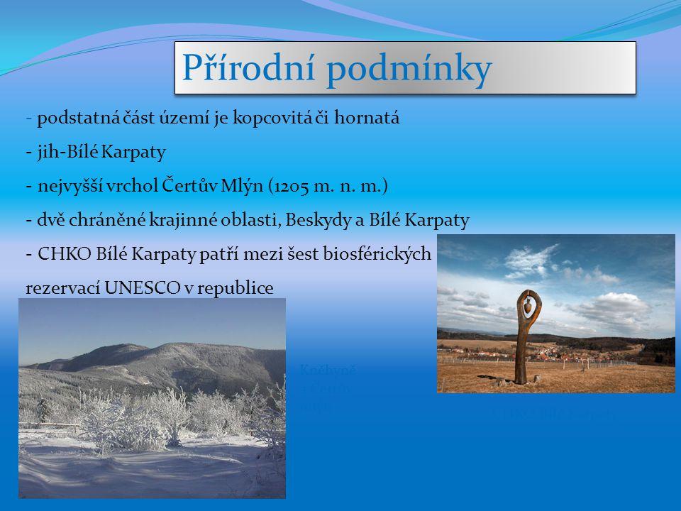 Přírodní podmínky podstatná část území je kopcovitá či hornatá