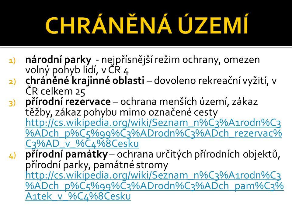 CHRÁNĚNÁ ÚZEMÍ národní parky - nejpřísnější režim ochrany, omezen volný pohyb lidí, v ČR 4.