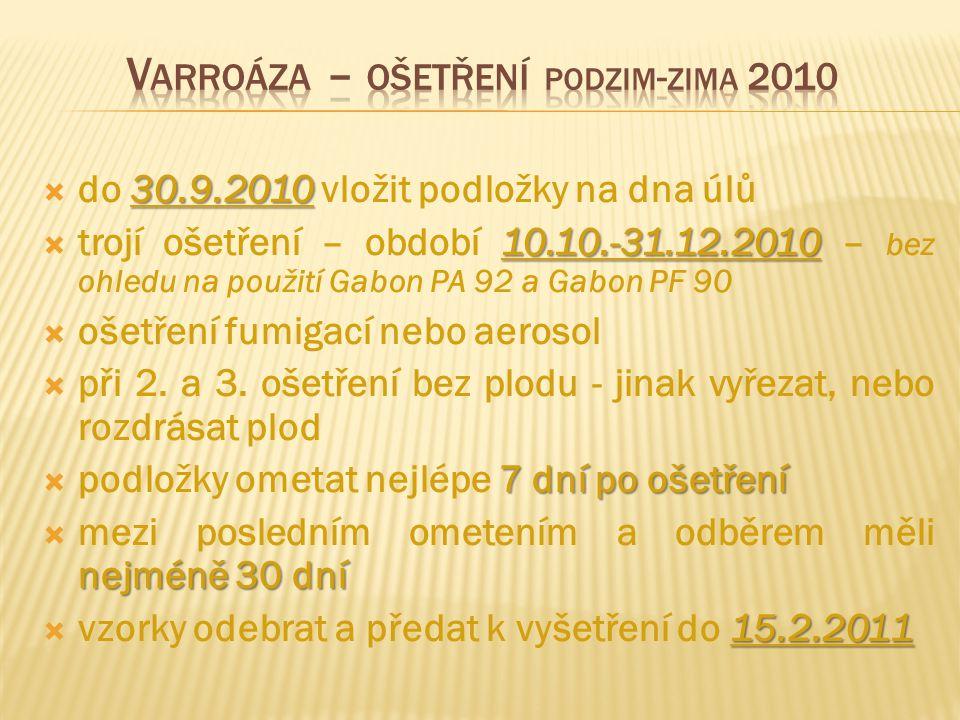 Varroáza – ošetření podzim-zima 2010