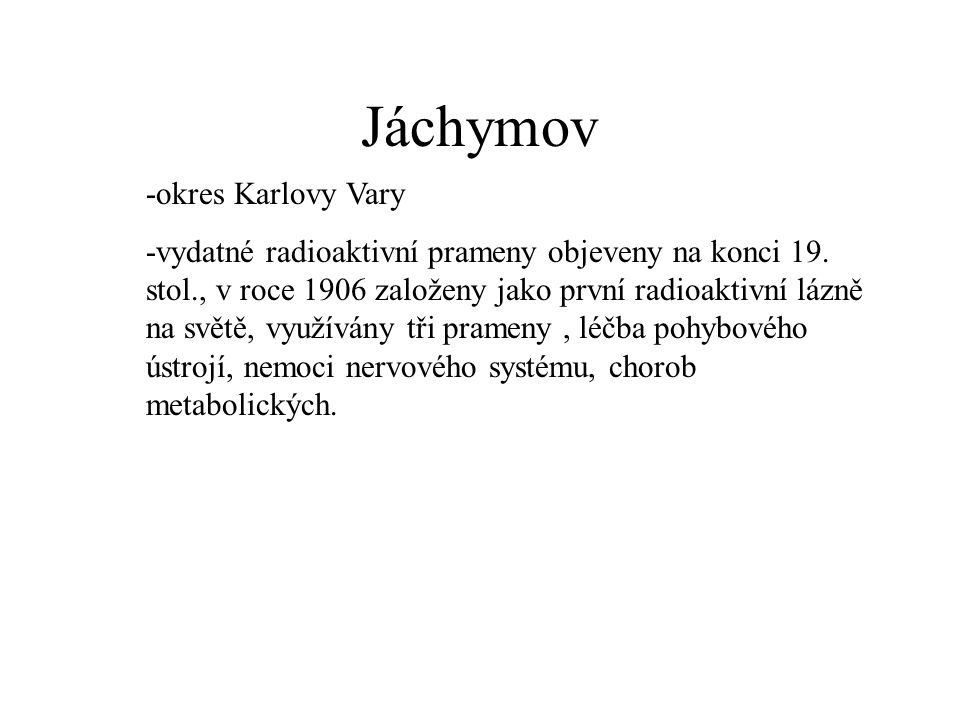 Jáchymov -okres Karlovy Vary