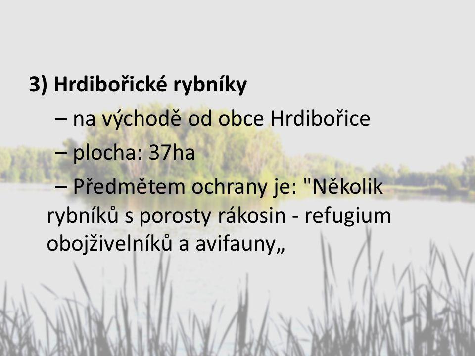 """3) Hrdibořické rybníky – na východě od obce Hrdibořice – plocha: 37ha – Předmětem ochrany je: Několik rybníků s porosty rákosin - refugium obojživelníků a avifauny"""""""