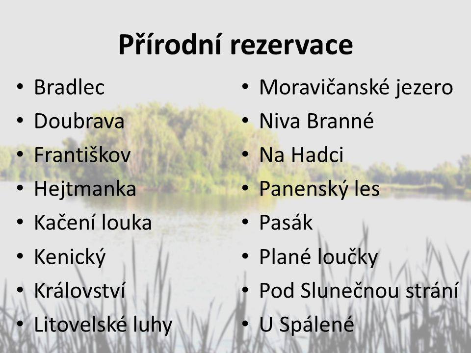 Přírodní rezervace Bradlec Moravičanské jezero Doubrava Niva Branné