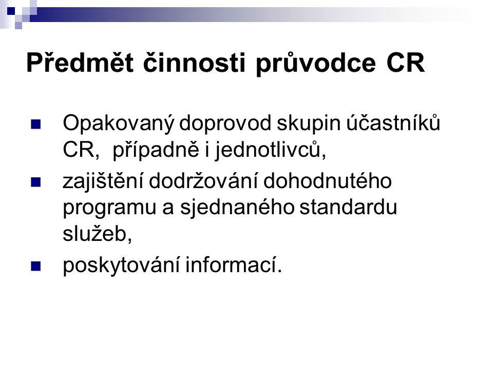 Předmět činnosti průvodce CR
