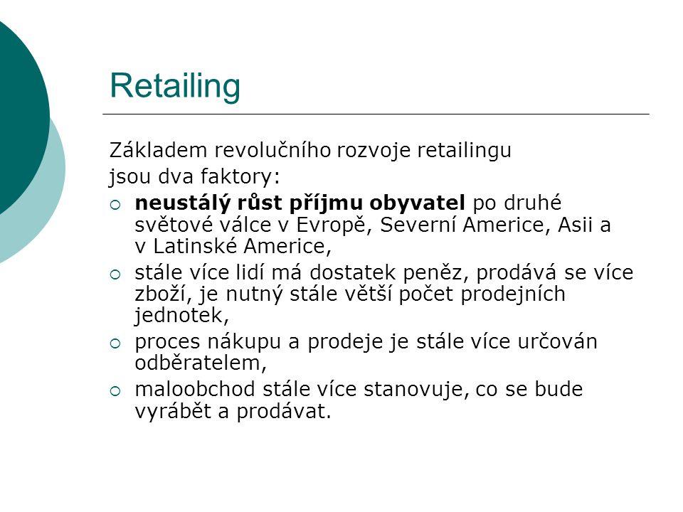 Retailing Základem revolučního rozvoje retailingu jsou dva faktory: