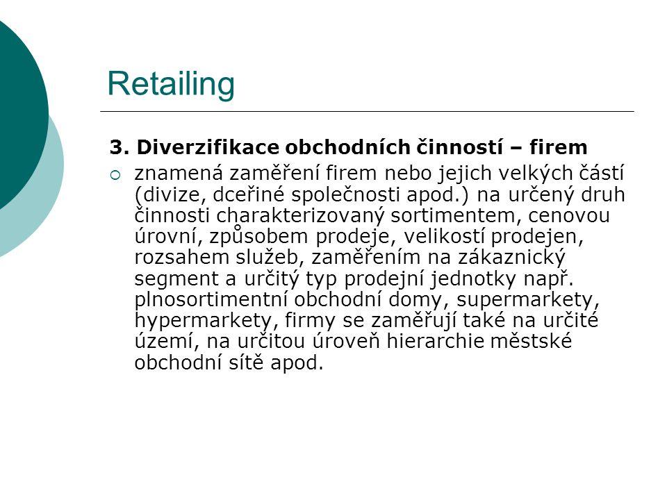 Retailing 3. Diverzifikace obchodních činností – firem