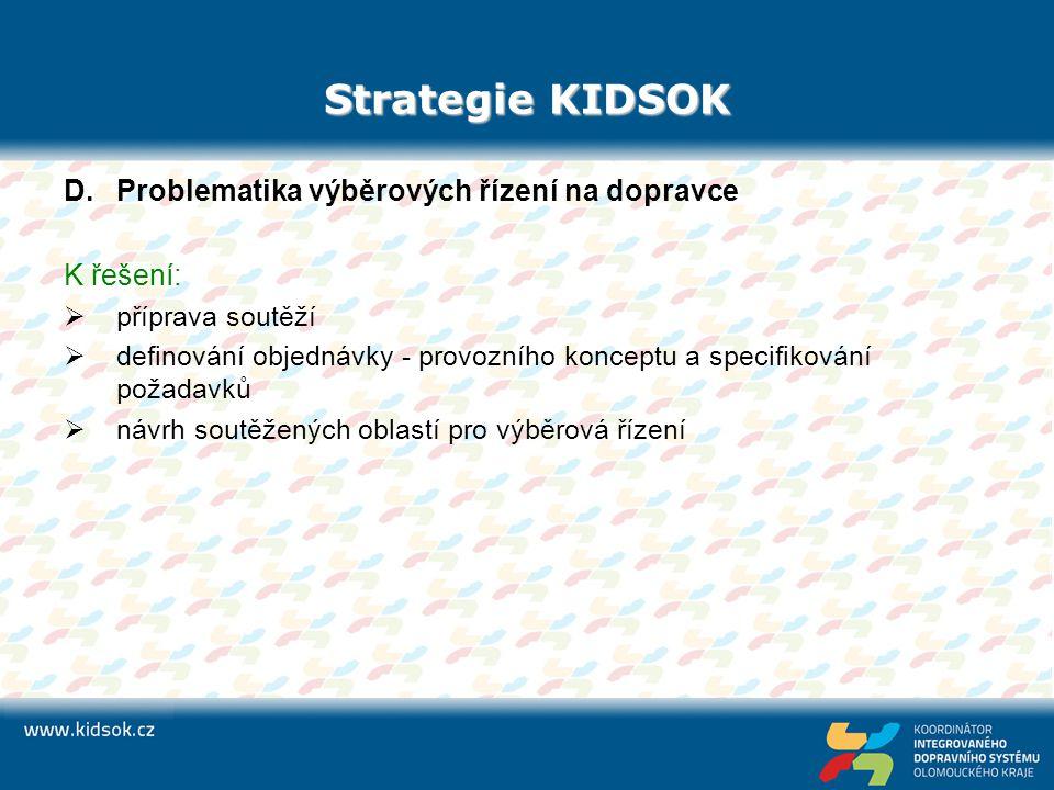 Strategie KIDSOK Problematika výběrových řízení na dopravce K řešení: