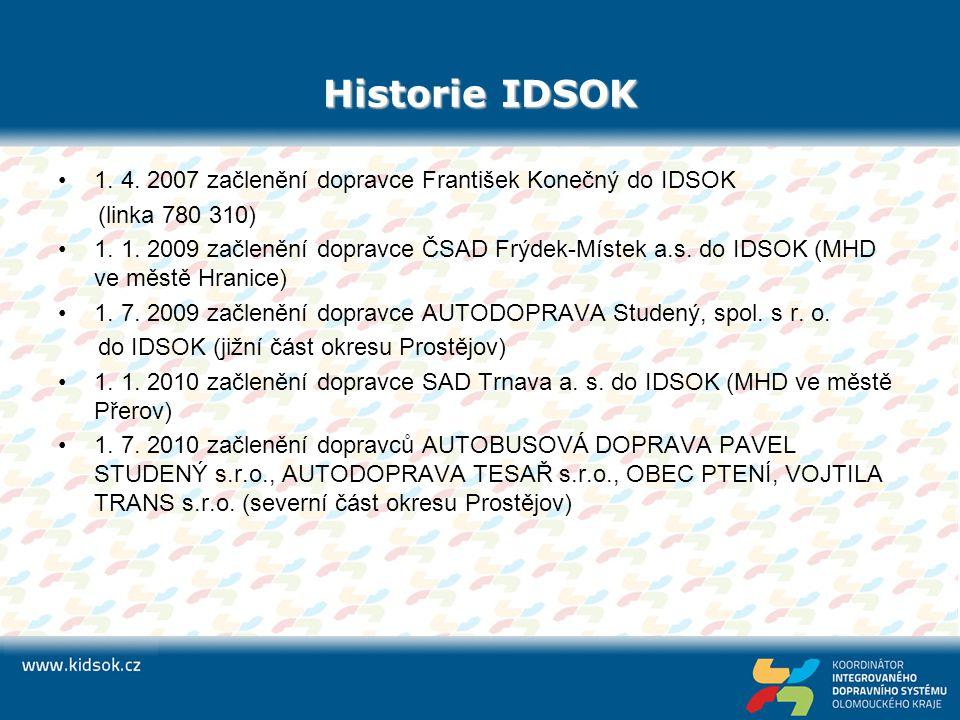 Historie IDSOK 1. 4. 2007 začlenění dopravce František Konečný do IDSOK. (linka 780 310)