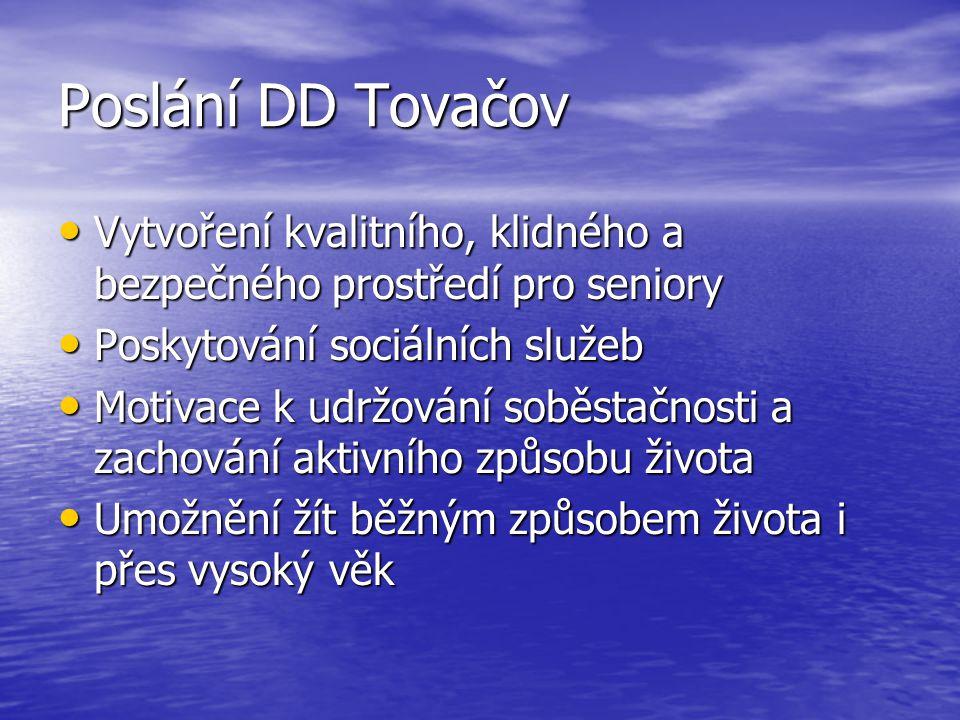 Poslání DD Tovačov Vytvoření kvalitního, klidného a bezpečného prostředí pro seniory. Poskytování sociálních služeb.