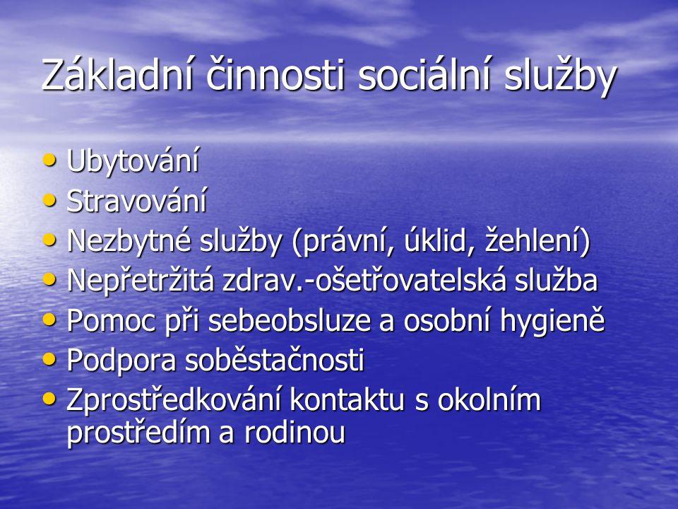 Základní činnosti sociální služby