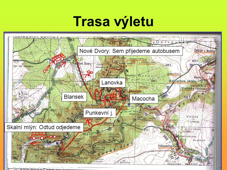 Trasa výletu Nové Dvory: Sem přijedeme autobusem Lanovka Blansek