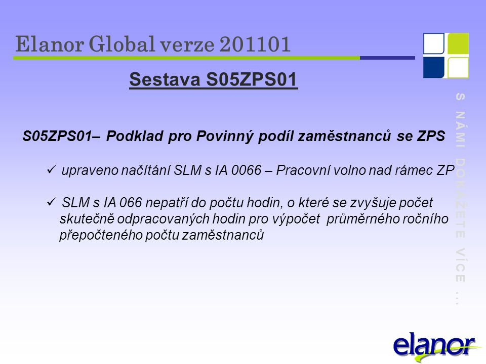 Elanor Global verze 201101 Sestava S05ZPS01