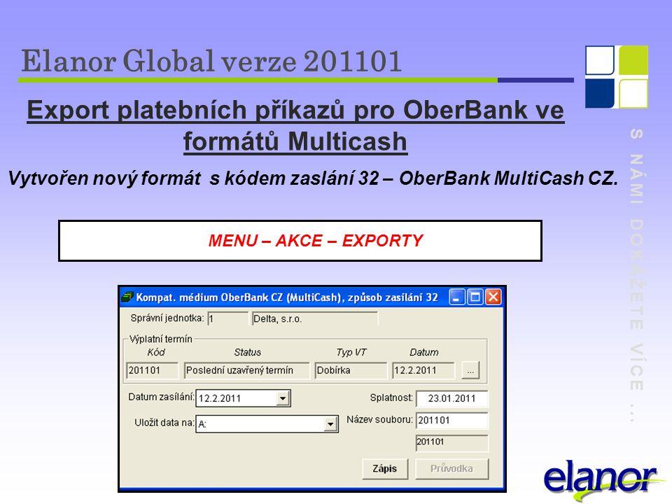 Export platebních příkazů pro OberBank ve formátů Multicash