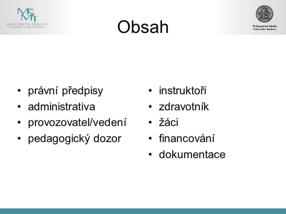 Obsah právní předpisy administrativa provozovatel/vedení