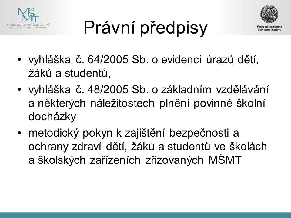 Právní předpisy vyhláška č. 64/2005 Sb. o evidenci úrazů dětí, žáků a studentů,