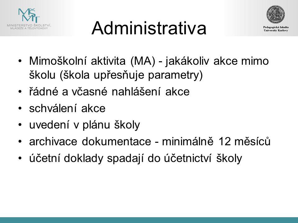 Administrativa Mimoškolní aktivita (MA) - jakákoliv akce mimo školu (škola upřesňuje parametry) řádné a včasné nahlášení akce.