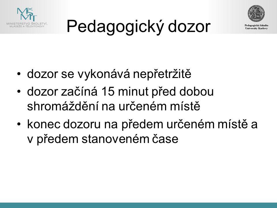 Pedagogický dozor dozor se vykonává nepřetržitě