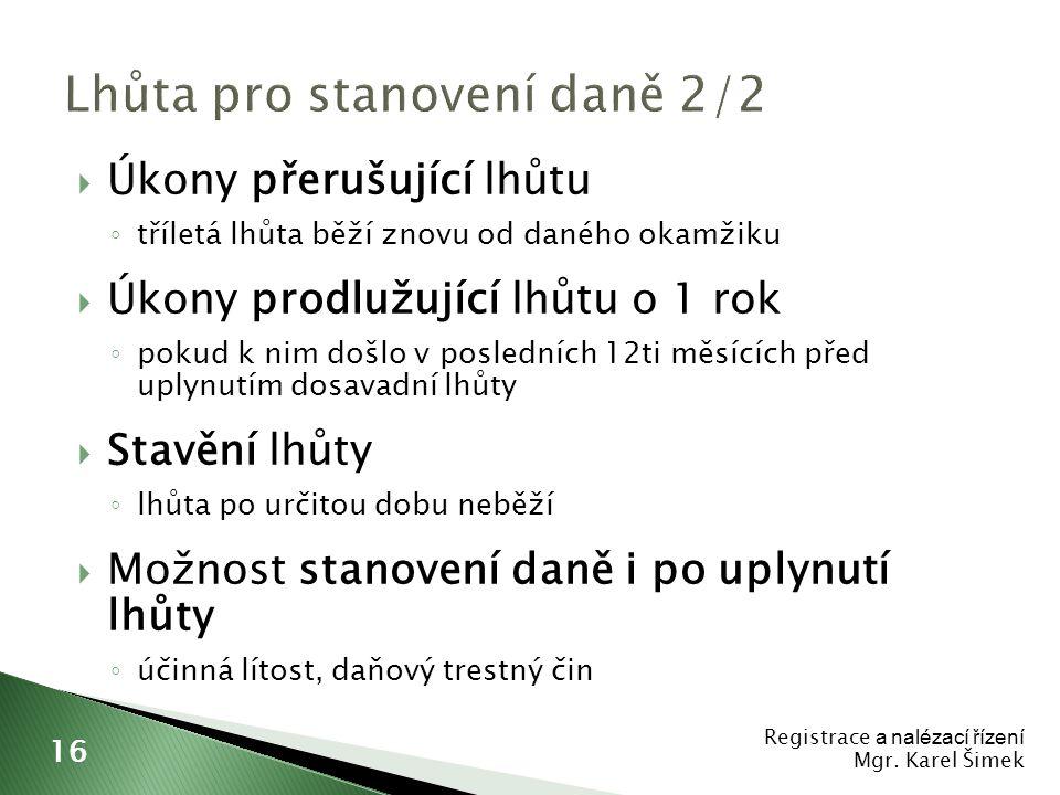 Lhůta pro stanovení daně 2/2