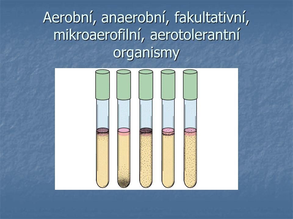 Aerobní, anaerobní, fakultativní, mikroaerofilní, aerotolerantní organismy