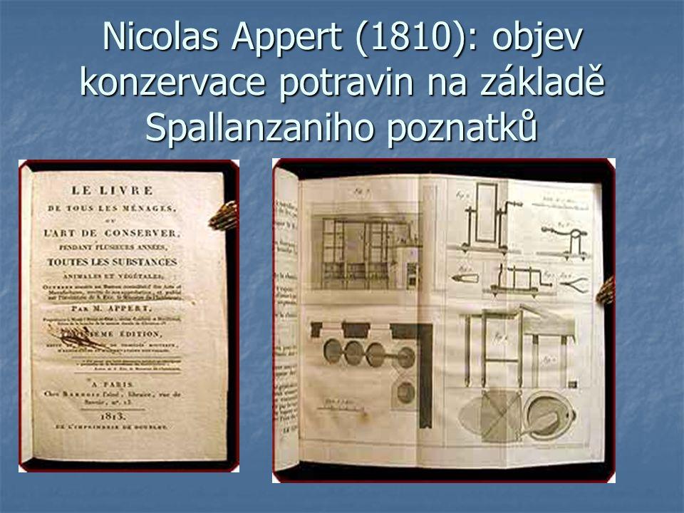 Nicolas Appert (1810): objev konzervace potravin na základě Spallanzaniho poznatků