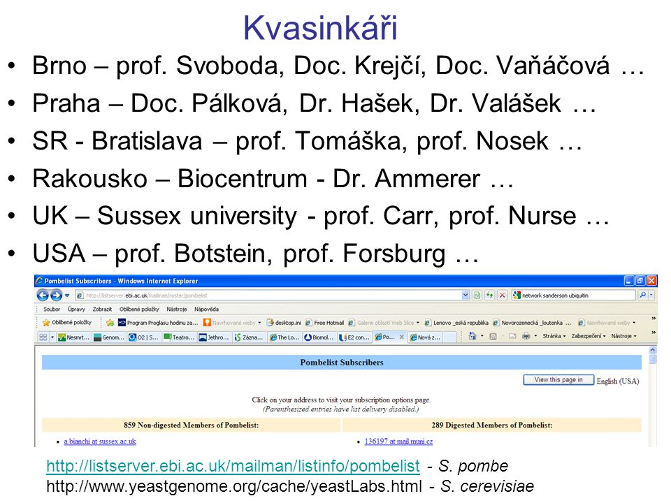 Kvasinkáři Brno – prof. Svoboda, Doc. Krejčí, Doc. Vaňáčová …