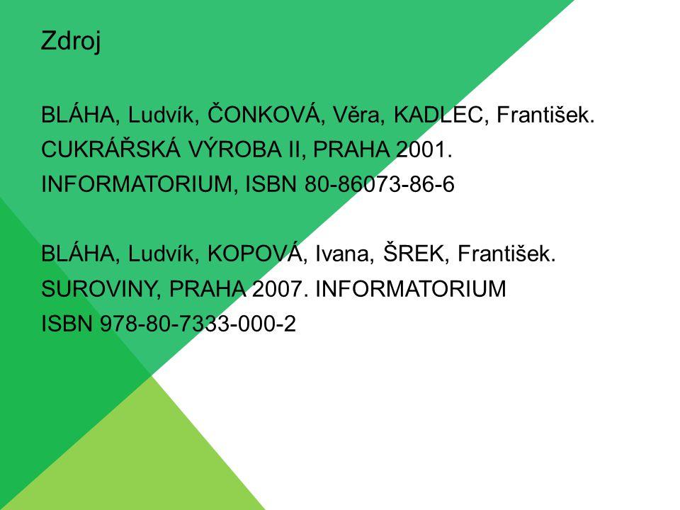 Zdroj BLÁHA, Ludvík, ČONKOVÁ, Věra, KADLEC, František.