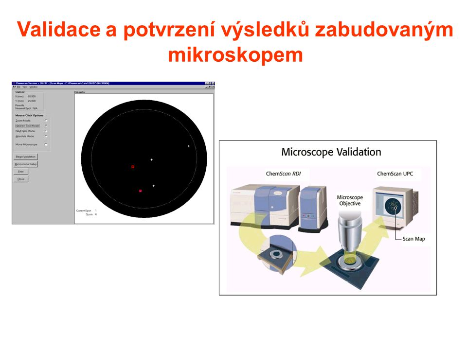 Validace a potvrzení výsledků zabudovaným mikroskopem