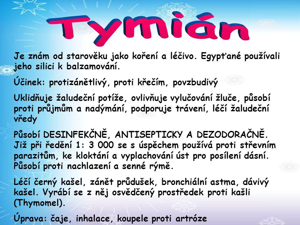 Tymián Je znám od starověku jako koření a léčivo. Egypťané používali jeho silici k balzamování. Účinek: protizánětlivý, proti křečím, povzbudivý.