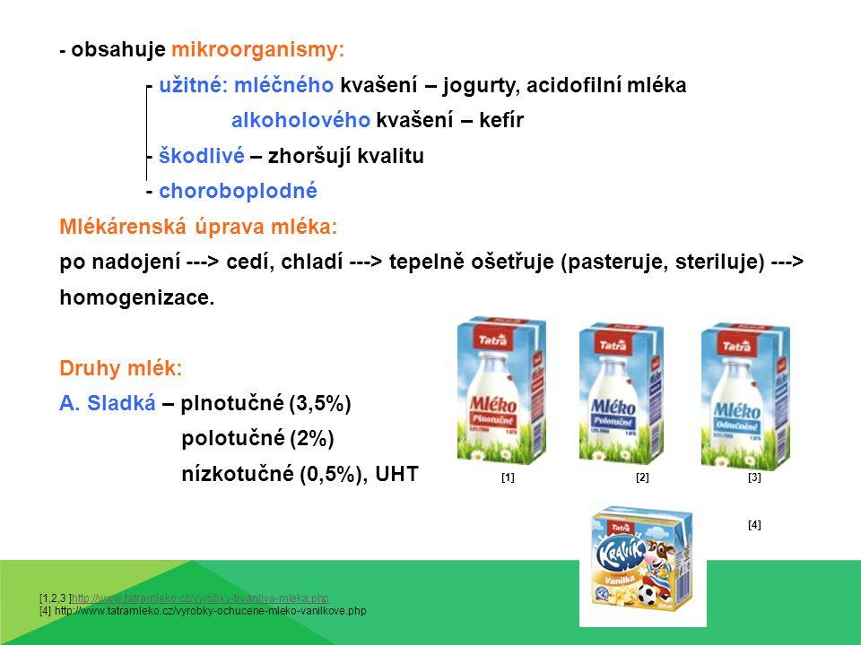 - užitné: mléčného kvašení – jogurty, acidofilní mléka