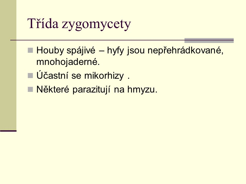 Třída zygomycety Houby spájivé – hyfy jsou nepřehrádkované, mnohojaderné.