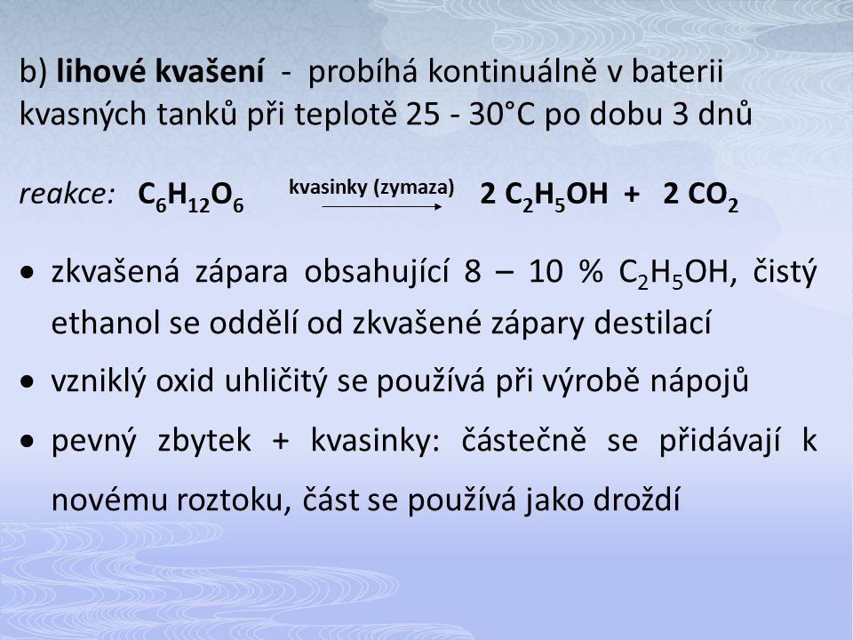 vzniklý oxid uhličitý se používá při výrobě nápojů
