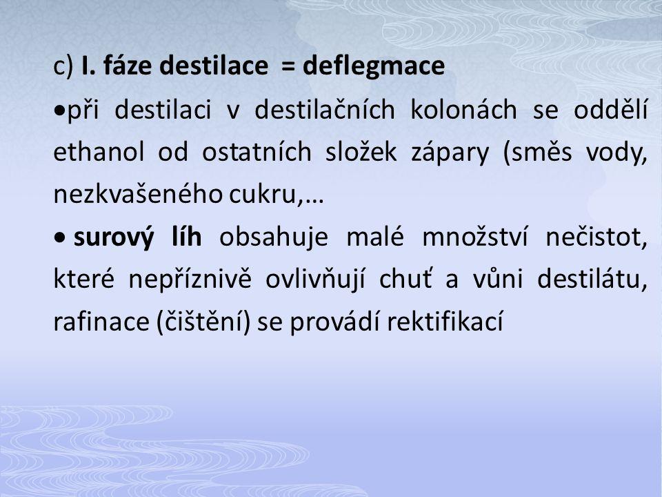 c) I. fáze destilace = deflegmace