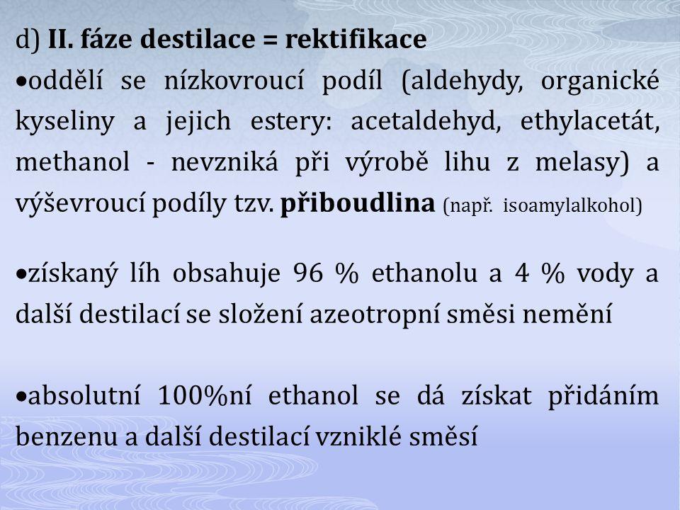 d) II. fáze destilace = rektifikace