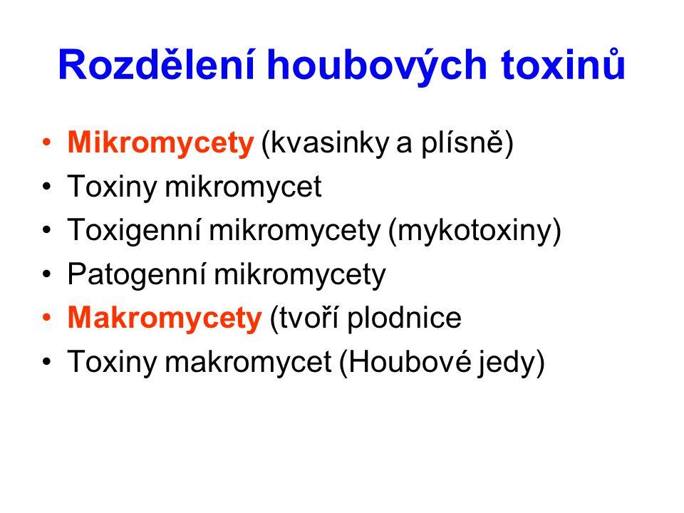 Rozdělení houbových toxinů