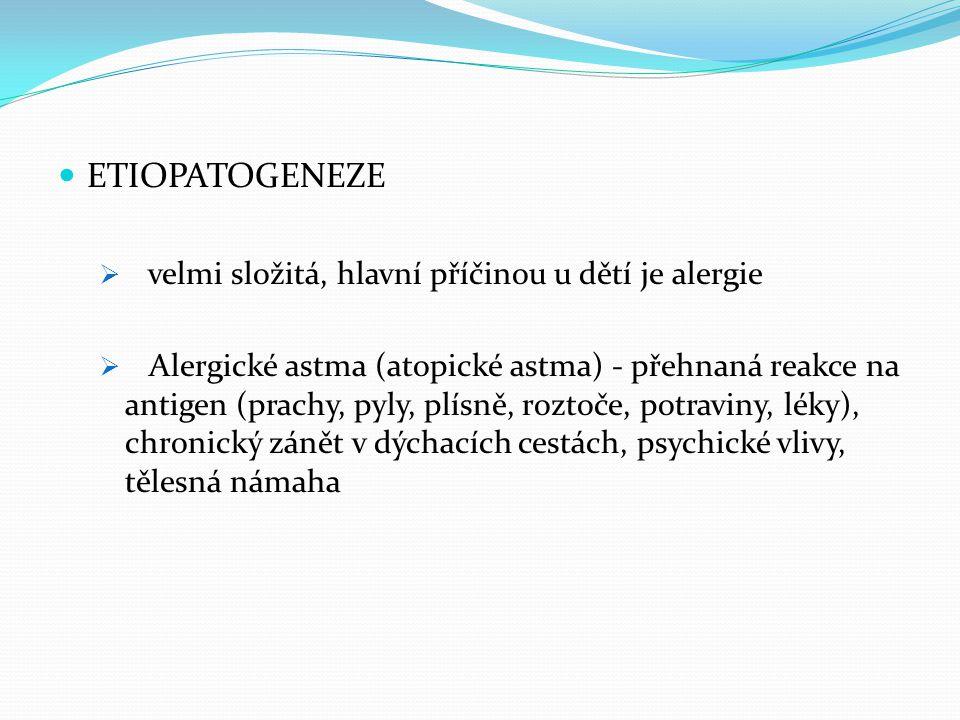 ETIOPATOGENEZE velmi složitá, hlavní příčinou u dětí je alergie
