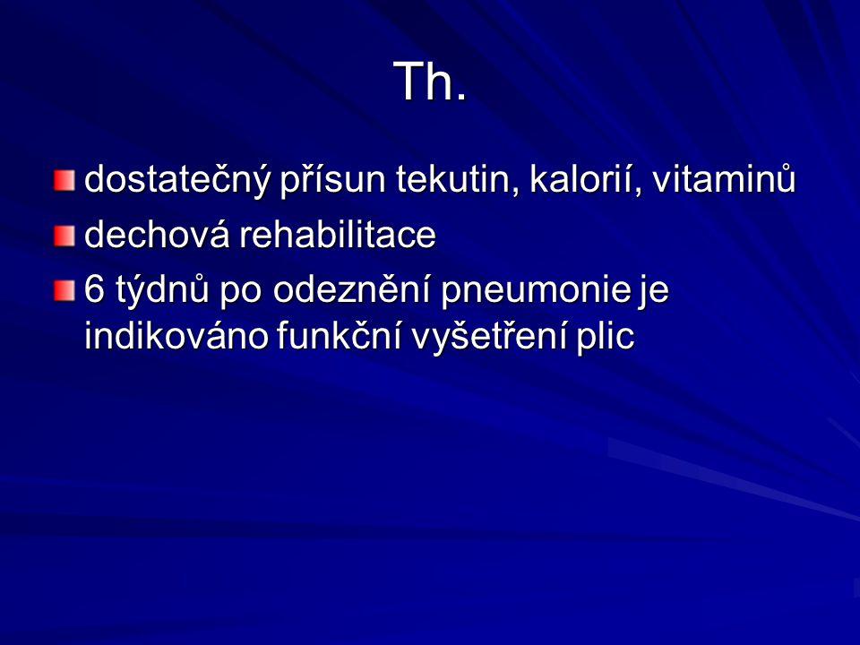 Th. dostatečný přísun tekutin, kalorií, vitaminů dechová rehabilitace