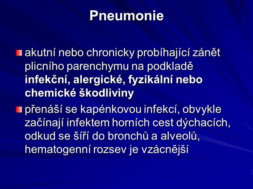 Pneumonie akutní nebo chronicky probíhající zánět plicního parenchymu na podkladě infekční, alergické, fyzikální nebo chemické škodliviny.