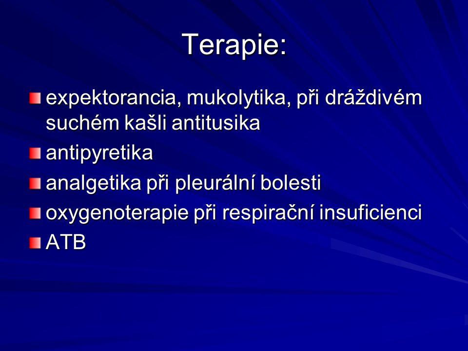 Terapie: expektorancia, mukolytika, při dráždivém suchém kašli antitusika. antipyretika. analgetika při pleurální bolesti.