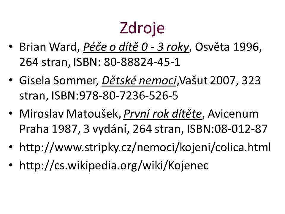 Zdroje Brian Ward, Péče o dítě 0 - 3 roky, Osvěta 1996, 264 stran, ISBN: 80-88824-45-1.