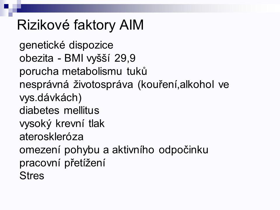 Rizikové faktory AIM genetické dispozice obezita - BMI vyšší 29,9