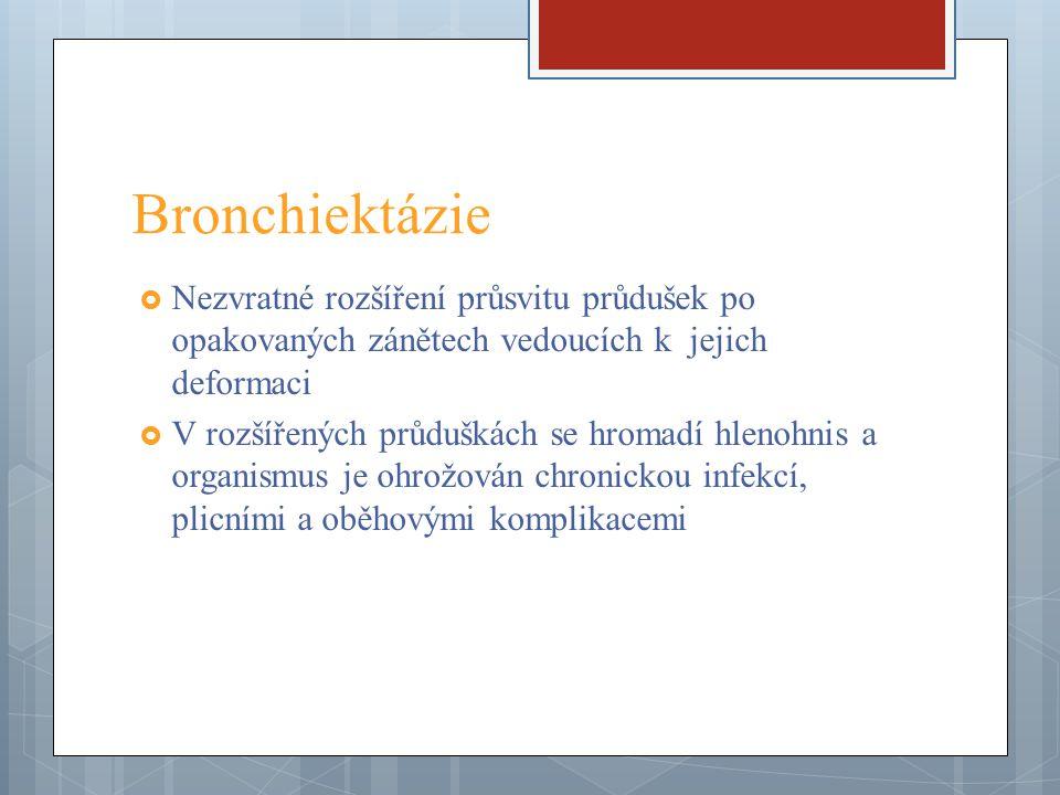 Bronchiektázie Nezvratné rozšíření průsvitu průdušek po opakovaných zánětech vedoucích k jejich deformaci.