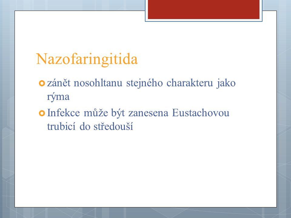 Nazofaringitida zánět nosohltanu stejného charakteru jako rýma