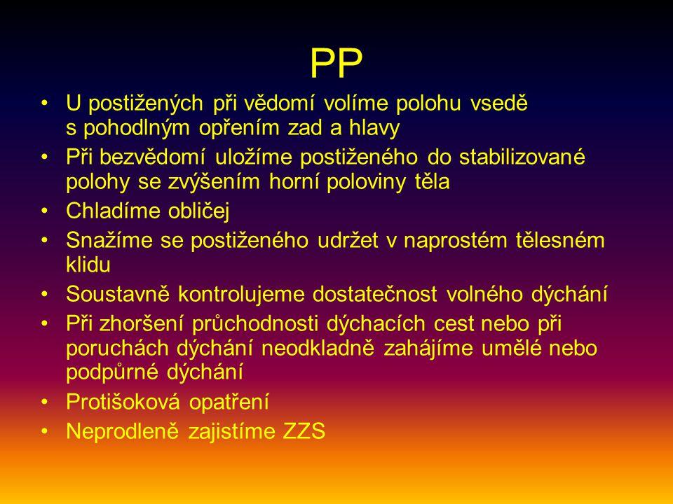 PP U postižených při vědomí volíme polohu vsedě s pohodlným opřením zad a hlavy.