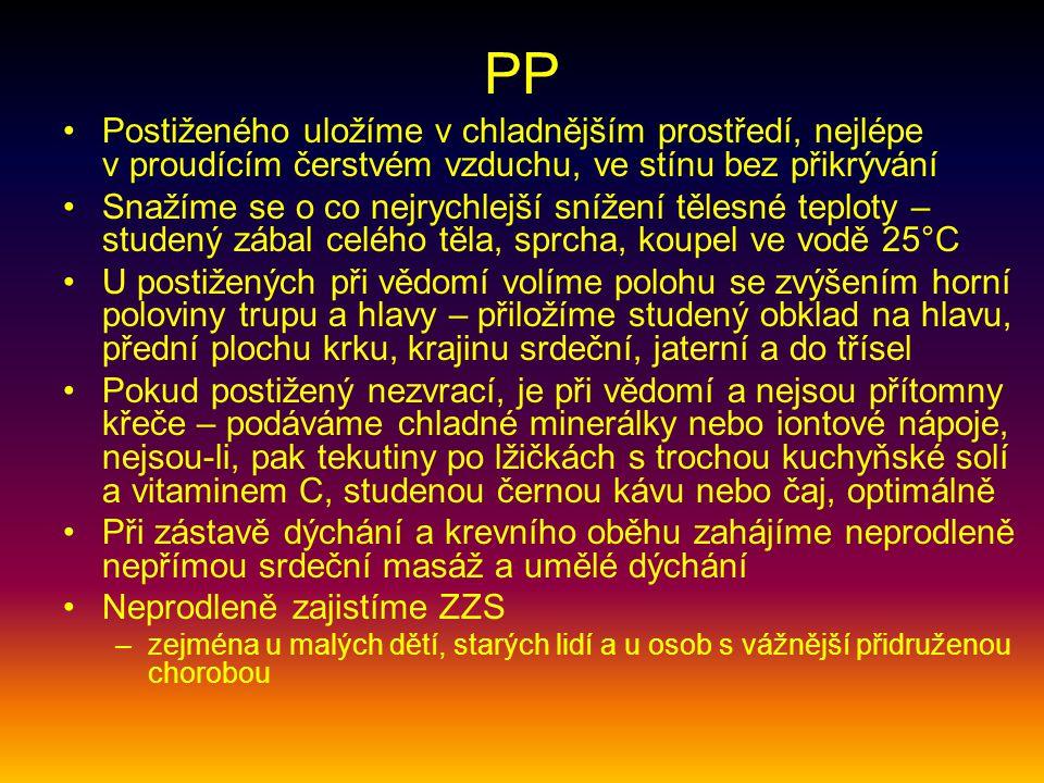 PP Postiženého uložíme v chladnějším prostředí, nejlépe v proudícím čerstvém vzduchu, ve stínu bez přikrývání.
