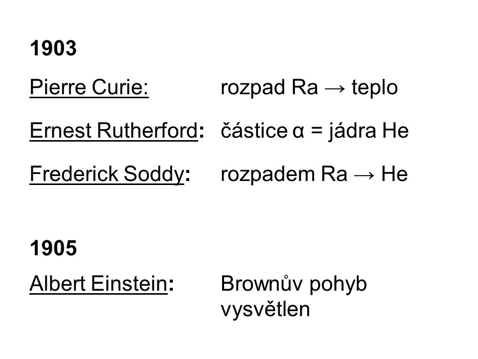 1903 Pierre Curie: rozpad Ra → teplo. Ernest Rutherford: částice α = jádra He. Frederick Soddy: rozpadem Ra → He.